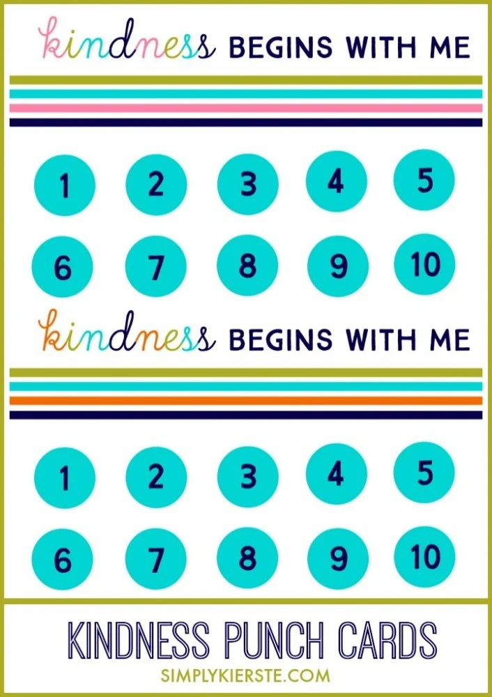 Kindness Punch Card simplykierste