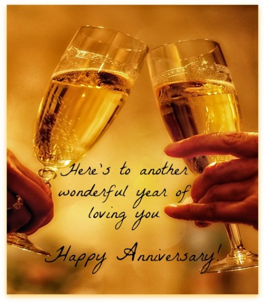 happy anniversary with champion glass image