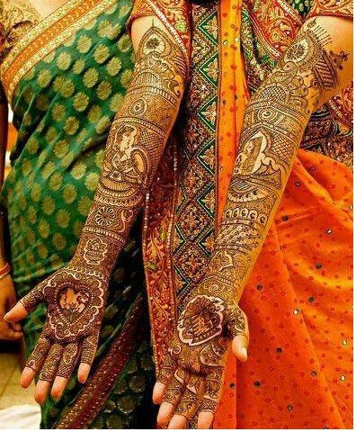 Groom and bride mehndi design