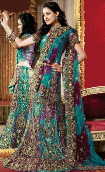 colorful dulhan lehenga