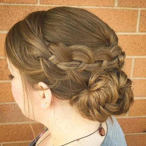 Bun with braided for circle face