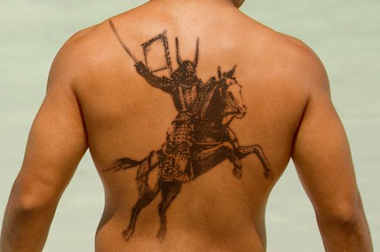 riding horse samurai tattoo design