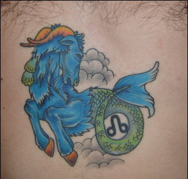 cartoon style capricorn tattoo