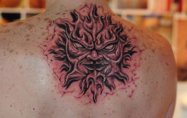 sun flames japapnese tattoo