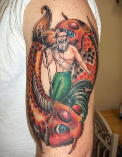 sleeve pisces tattoo with man