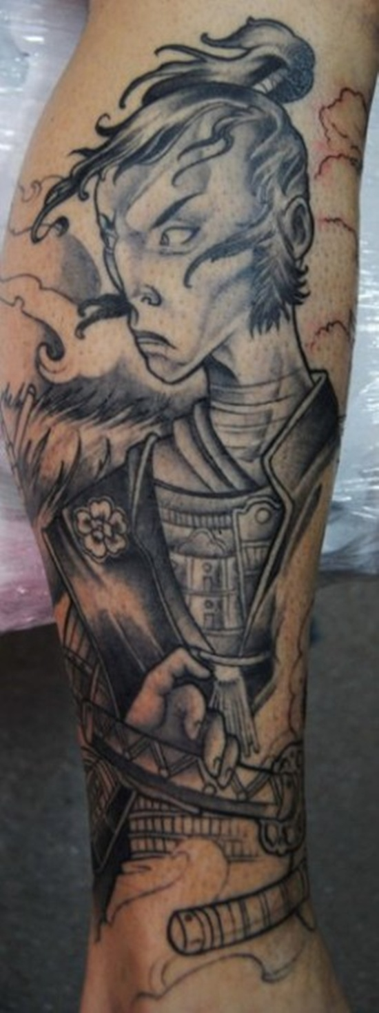 sketch tattoo of samurai