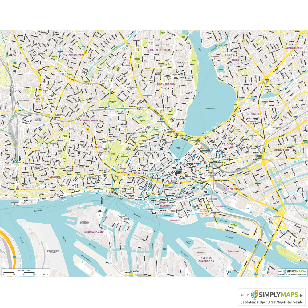 Stadtplan Hamburg Vektor Download Illustrator Pdf Simplymaps De