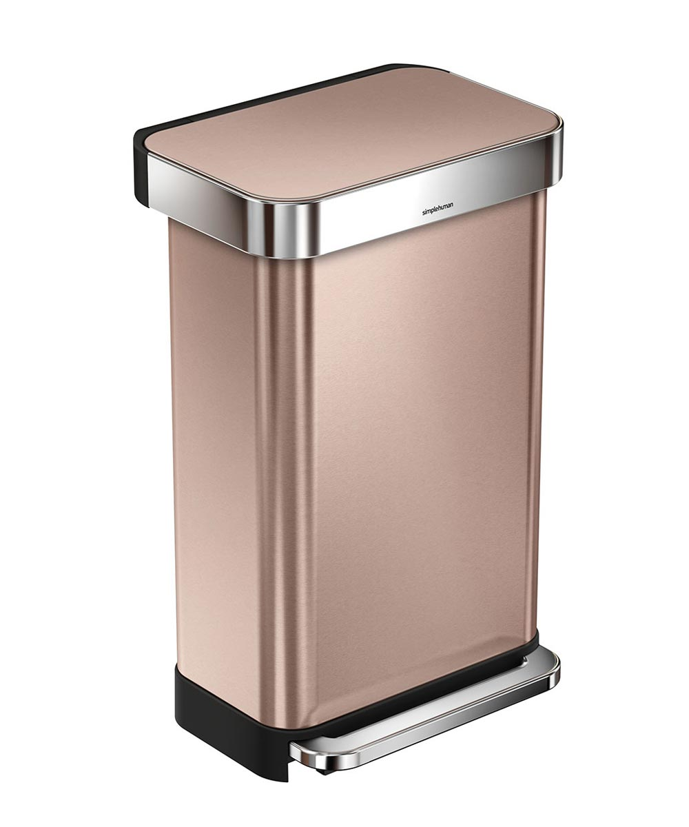Copper Trash Can With Lid 45 Liters 11 9 Gallons Rectangular Step Trash Can Rose Gold Stainless Steel