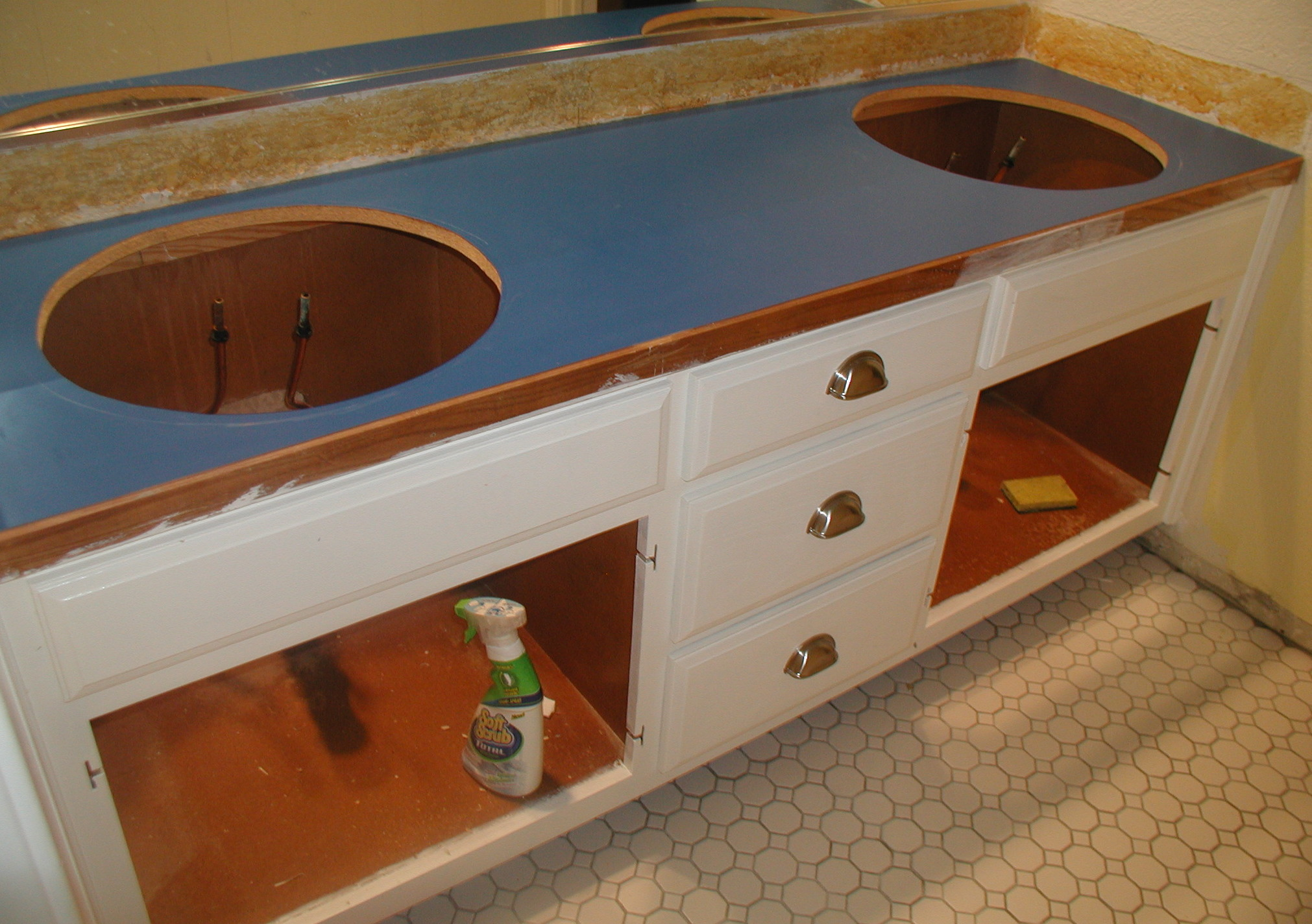 How To Cut Sink In Laminate Countertop Project Bathroom Vanity With Laminate Over Laminate