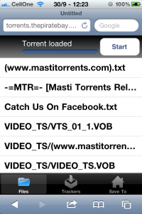Screenshot of torrent loaded