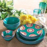 Melamine Dinnerware 16-Piece Set outdoor indoor BPA Free ...