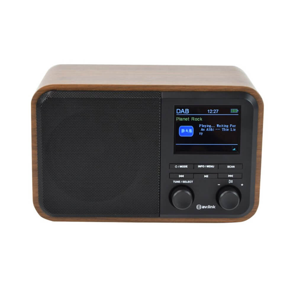 Hifi Bluetooth Deco Rechargeable Dab Radio With Bluetooth Colour Display Dark Wood Hifi Sound System