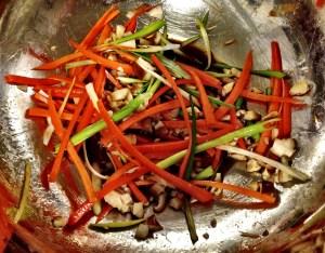 marinating spring roll veggies