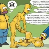 bart simpson has his mother marge tied up and is going to fuck and she is pleading with to stop it whilr his dad is watching them