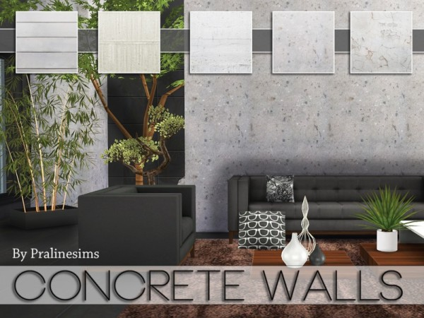 Black Brick Wallpaper The Sims Resource Concrete Walls By Pralinesims Sims 4