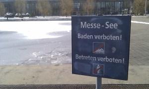 Der Messesee lud letztes Jahr tatsächlich zum Baden ein.