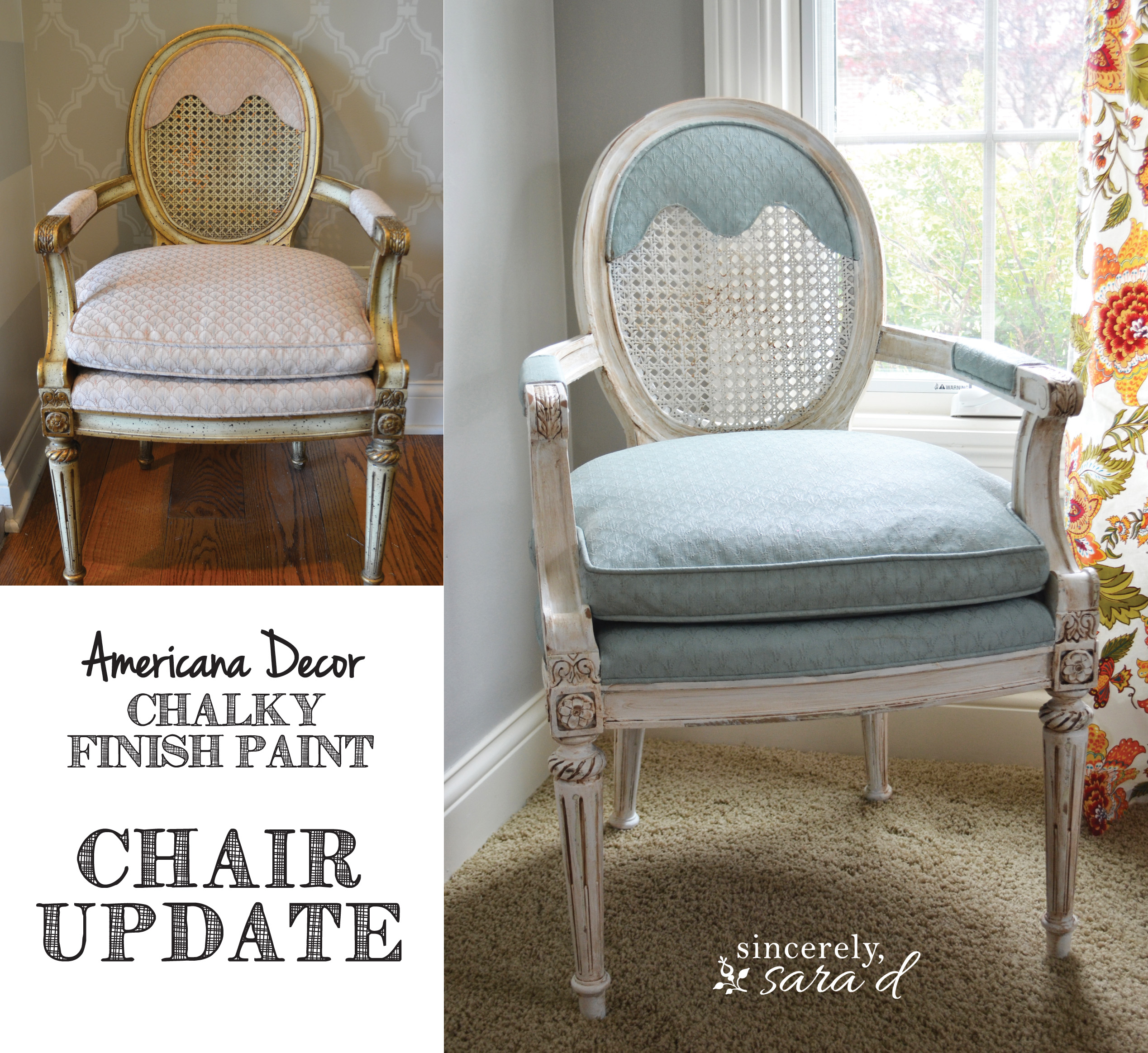 Americana Decor Chalky Finish Painted Upholstered Chair Using Chalk Paint Sincerely Sara D
