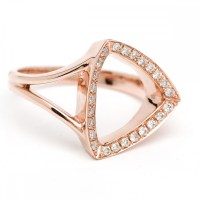 14K Rose gold champagne diamond open triangle ring