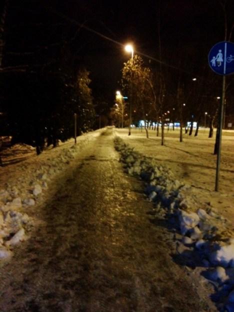 Slavonska – nogostup i bic. staza pod ledom