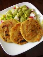 Salvadoran cuisine: Pupusas with Tomatillo-Avocado Sauce
