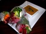 Thai cuisine: Baked Tofu / Avocado Spring Rolls with Thai Peanut Sauce