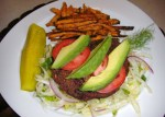 Deconstructed Cajun Black Bean Burgers with Sweet Potato Oven Fries
