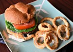 Portabella Burger with Russian Dressing and Onion Rings