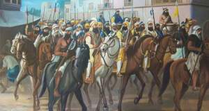 Sikhs-entering-Delhi-_Jathedar-Baghel-Singh-Jassa-Singh-Ahluwallia-Jassa-Singh-Ramgarhia-and-other-Sikh-sardars-and-Sikhs-are-with-them