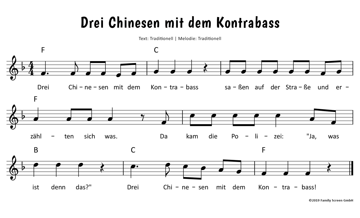 Drei Chinesen Mit Dem Kontrabass Text Noten Video Zum Mitsingen