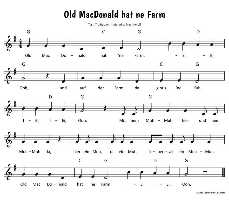 Old Macdonald Hat Ne Farm Text Noten Video Zum Mitsingen