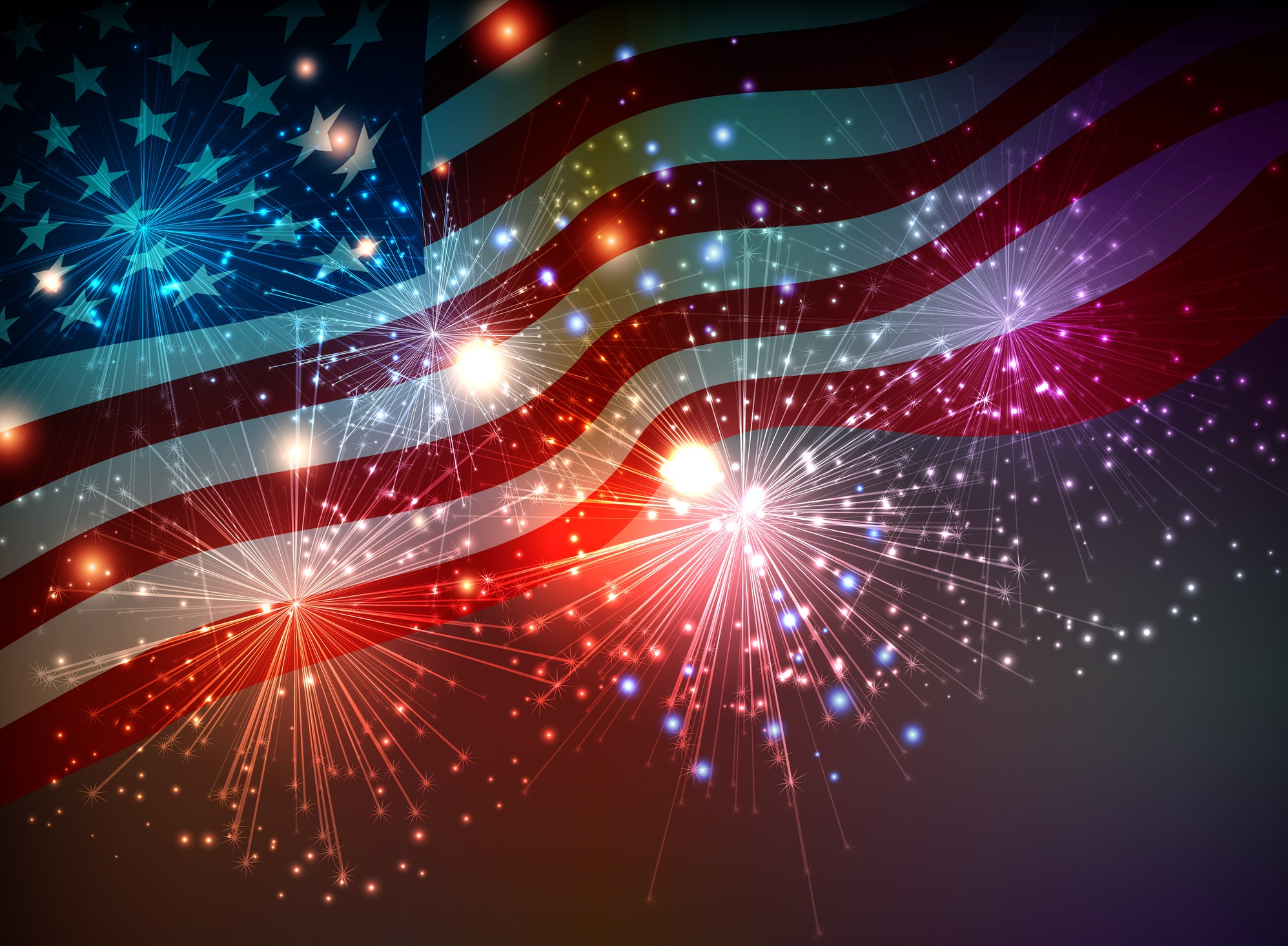 fireworks USA flag