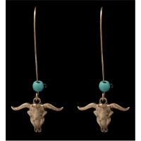 Silver Strike Gold Skull Earrings - E0769GBTQ - 3D Belt
