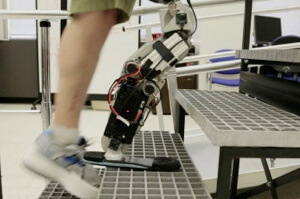 A thought-controlled, robotic prosthetic leg made by the Rehabilitation Institute of Chicago's (RIC).