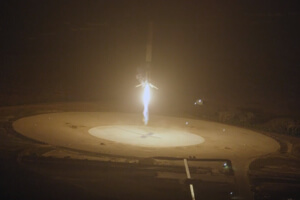 SpaceX Falcon 9 returns to launch pad after delivering a payload of satellites to orbit. (Image Credit: SpaceX/YouTube)