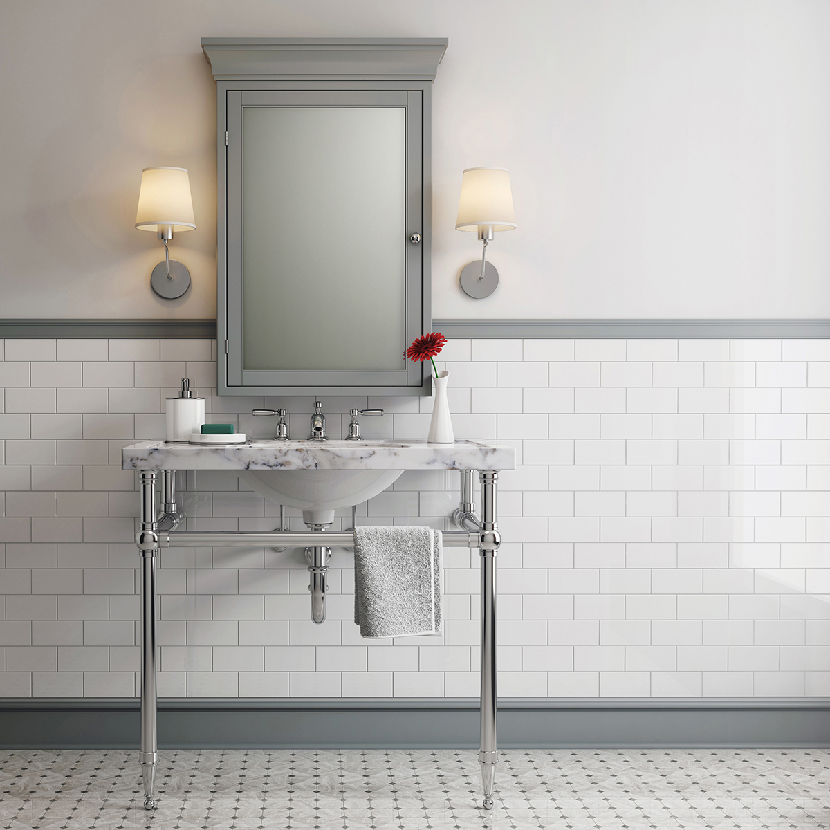 Subway Tiled Bathrooms A Tapered Foot Style Leg System In A Classic Subway Tile Bathroom