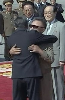 A very long time ago: PRC Premier Wen Jiabao hugs Kim Jong Il in Pyogyang in October 2009 a few months after the second nuclear test, prior to offering Kim a massive aid package.