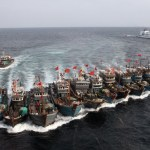 Chinese Fishing Boats with Naval Escort in the Yellow Sea | Image via Huanqiu Shibao, December 30, 2011