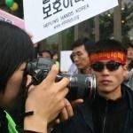 Shin Dong-hyuk protests the repatriation of North Korean defectors living in China. | Image: Dan Bielefeld