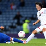 North Korean player, O Hui Sun, during their match against France in which the DPRK was defeated 5-0.