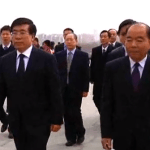 Ambassador Liu Hongcai, on the high wire up Mansudae Hill | Chosun Central TV screen capture