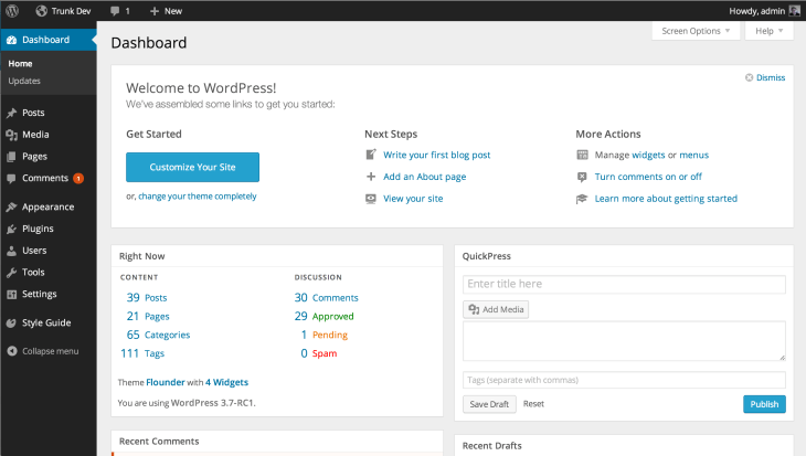 The designs for WordPress 3.8