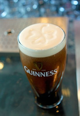 The perfect pour of Guinness, complete with Shamrock