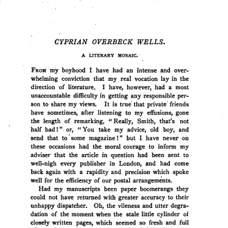 Cyprian Overbeck Wells &#8211; A Literary Mosaic