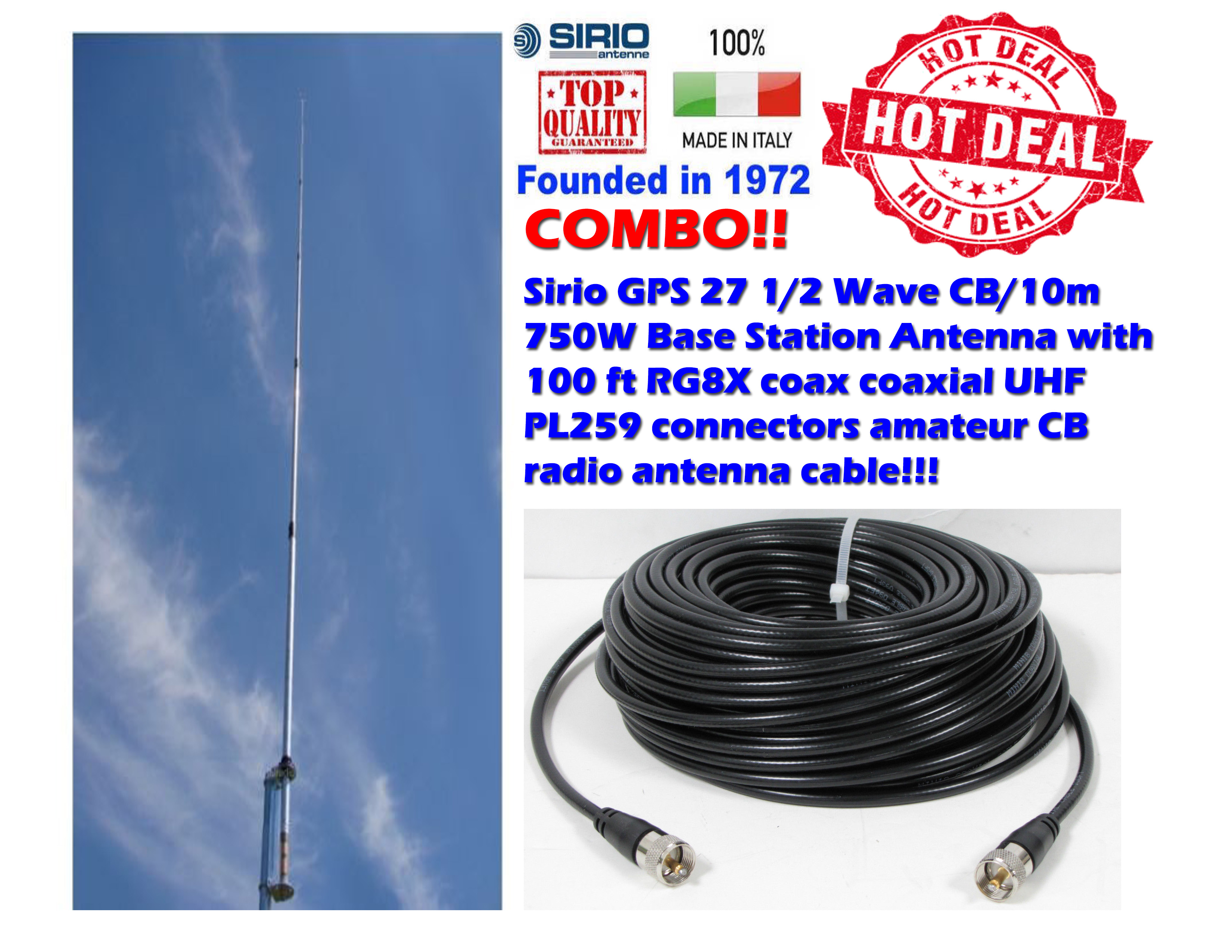 Coax Antenne Sirio Gps 27 1 2 Wave Cb 10m Base Station Antenna 100 Ft Coax