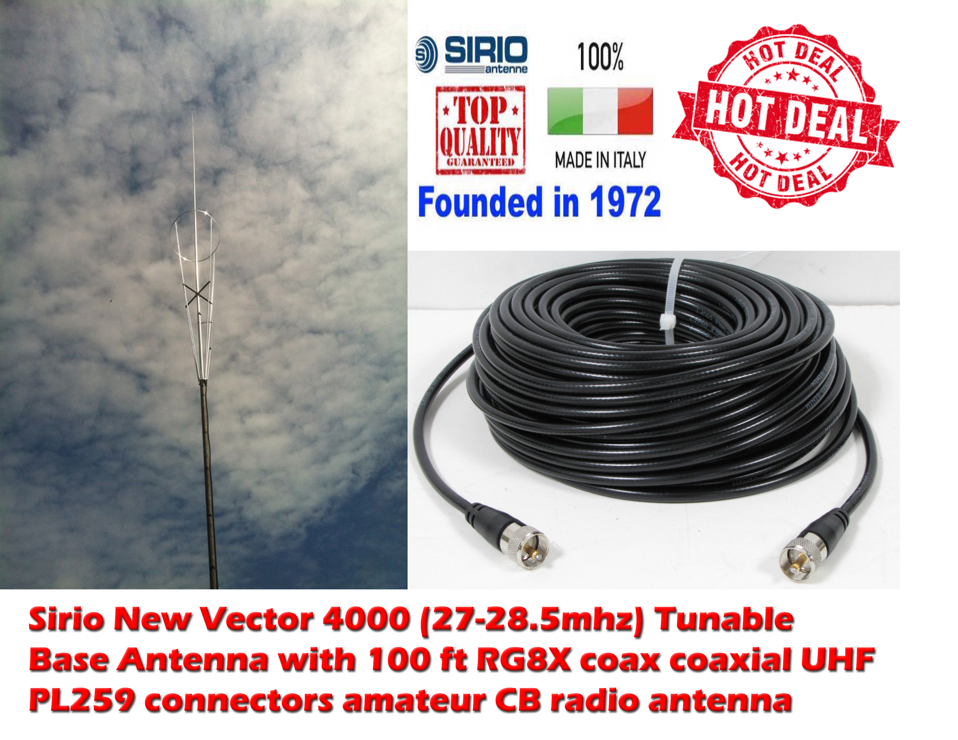 Coax Antenne Sirio New Vector 4000 10m Cb Tunable Base Antenna 100ft Coax
