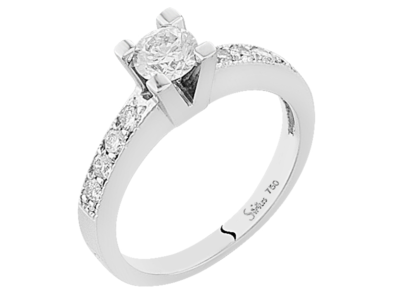 Antrag Ring Diamant Design Solitaire Diamantring 585 14k Weissgold