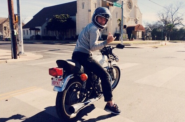 Casey riding a motorcycle