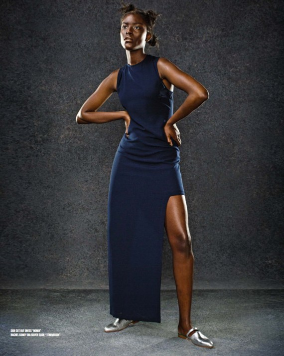 Fitted navy dress