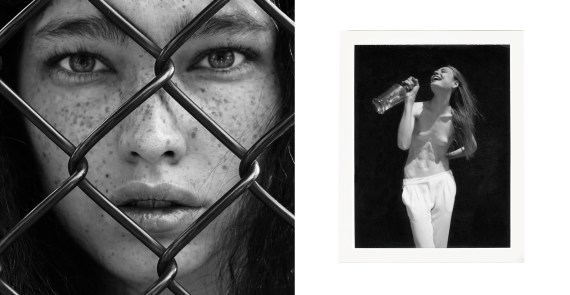 girl behind fence