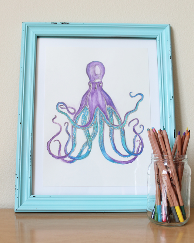 watercolor octopus art